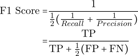 \begin{equation*} \begin{aligned} \text{F1 Score} = & \frac{1}{ \frac{1}{2} (\frac{1}{Recall} + \frac{1}{Precision}) } \\ = & \frac{\text{TP}}{ \text{TP} + \frac{1}{2}(\text{FP}+\text{FN}) } \end{aligned} \end{equation*}